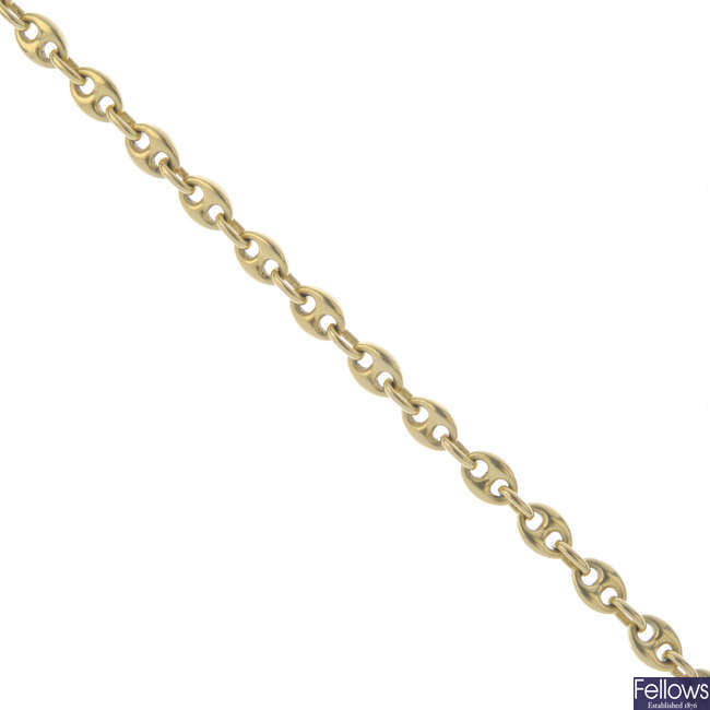 An 18ct gold anchor-link chain.