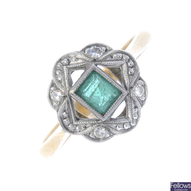 An early 20th century 18ct gold emerald and diamond dress ring.