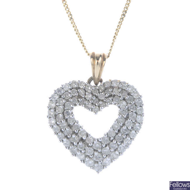 A 9ct gold diamond heart pendant, with chain.