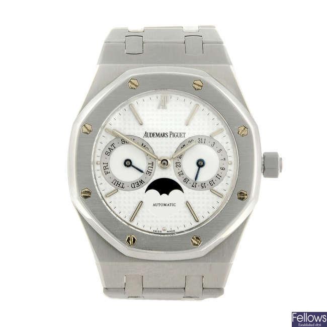 AUDEMARS PIGUET - a gentleman's stainless steel Royal Oak Moon phase bracelet watch.