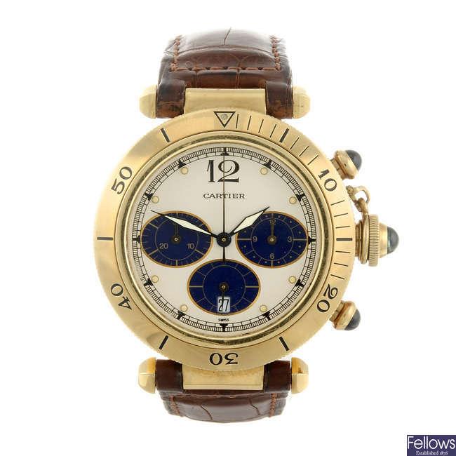 CARTIER - an 18ct yellow gold Pasha chronograph wrist watch.