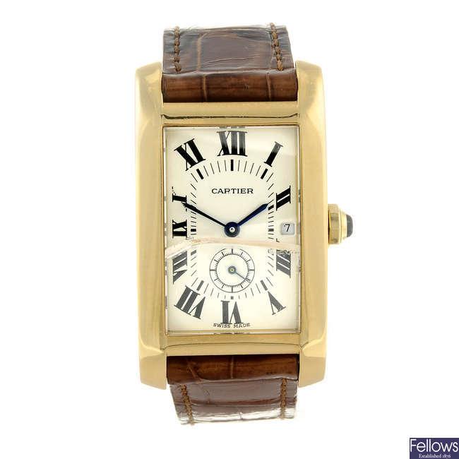 CARTIER - a yellow metal Tank Americaine wrist watch.