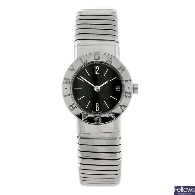BULGARI - a lady's stainless steel Bulgari bracelet watch.