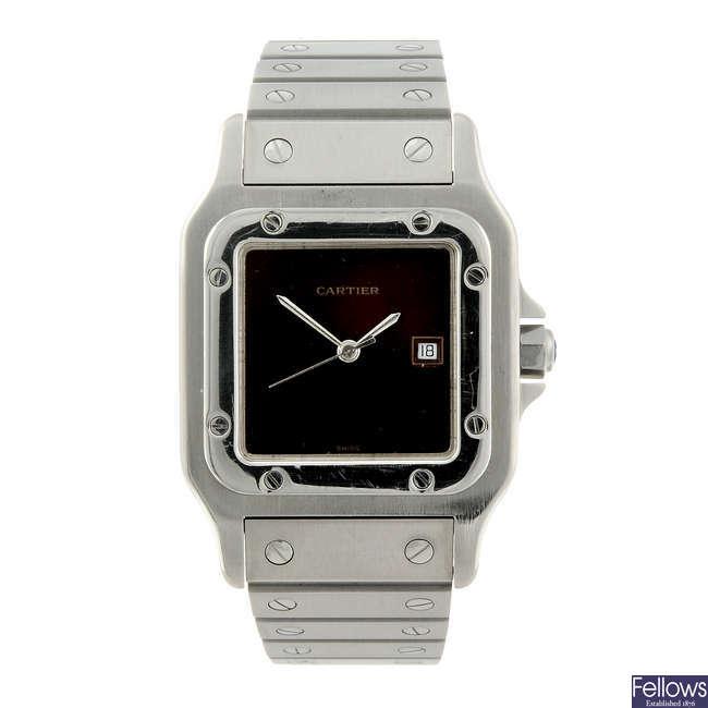 CARTIER - a stainless steel Santos bracelet watch