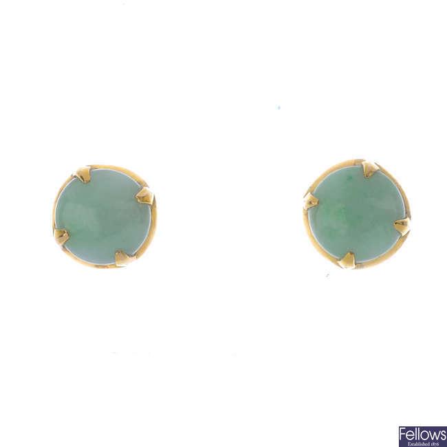 A pair of jade earrings.