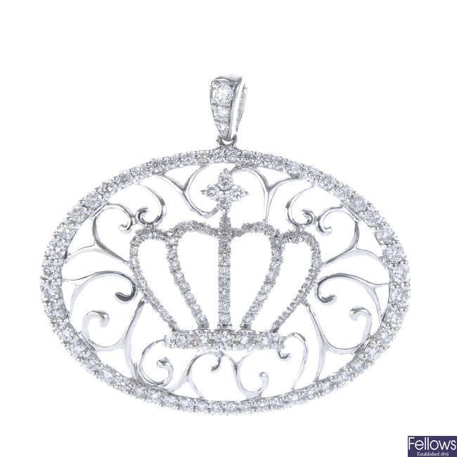 A diamond crown pendant.
