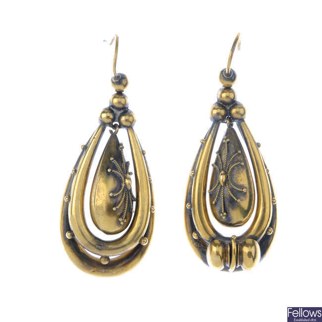 A pair of late Victorian earrings.