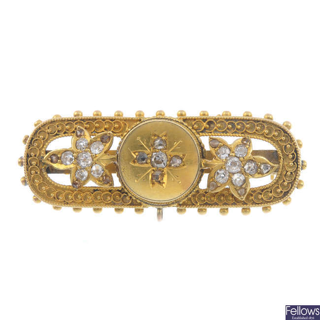 A late Victorian gold diamond brooch, circa 1880.