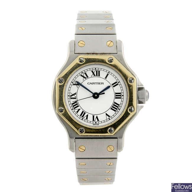 CARTIER - a bi-metal Santos Ronde bracelet watch.