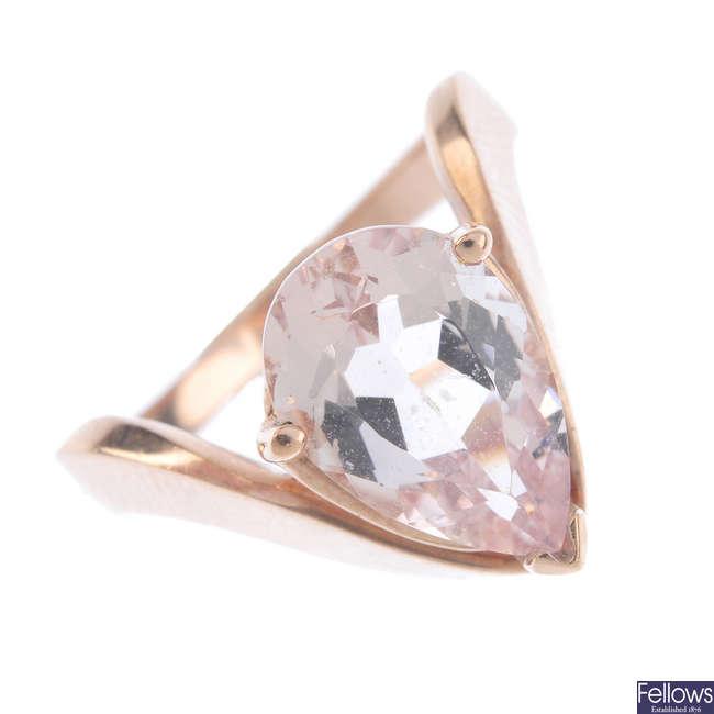 A morganite single-stone dress ring.