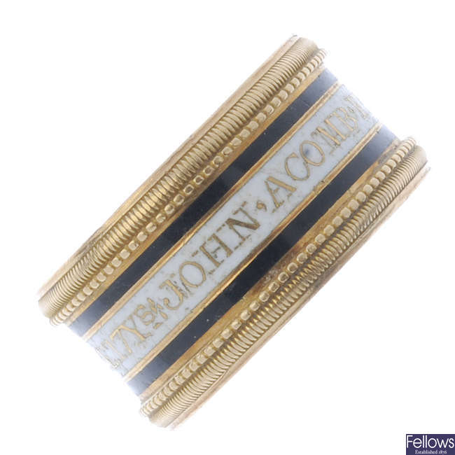 An 18ct gold George III enamel memorial ring.