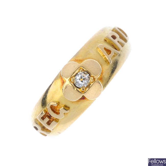 A late Victorian gold diamond 'Regard' ring.