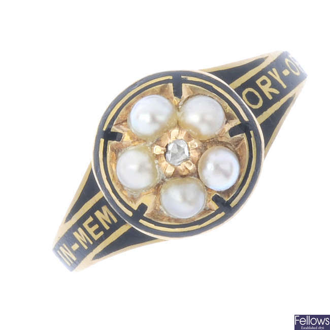 A mid Victorian 18ct gold split pearl diamond and enamel memorial ring.