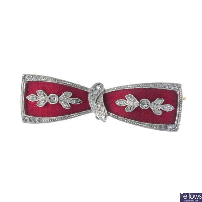 A Belle Epoque platinum and 18ct gold diamond and fabric bow brooch.