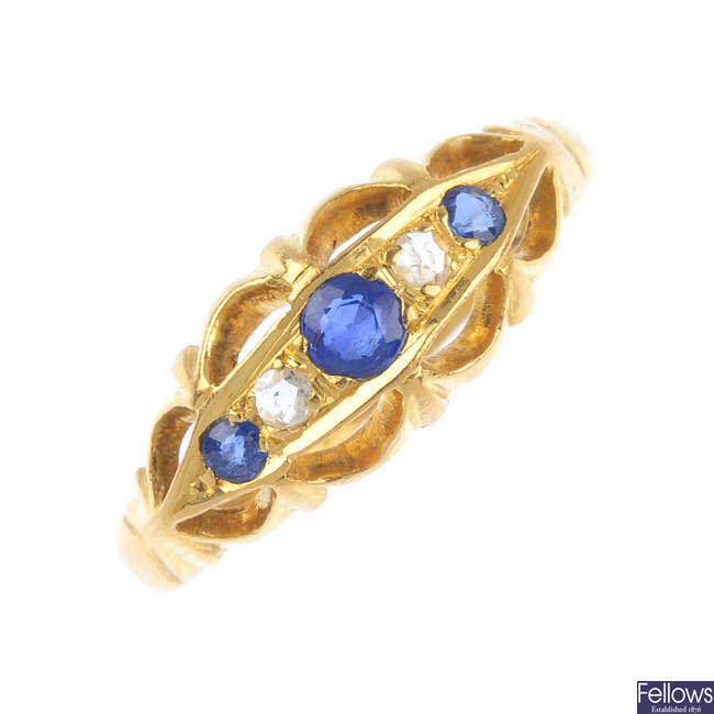 A late Victorian 18ct gold sapphire and diamond five-stone ring.