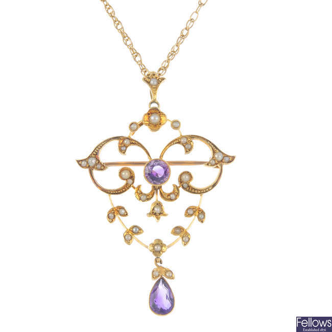 An early 20th century 15ct gold amethyst and split pearl pendant, with chain.