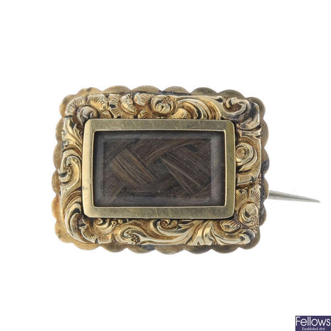 A mid Victorian mourning brooch.