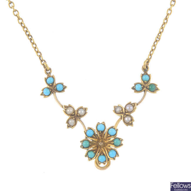 An Edwardian 9ct gold turquoise and split pearl floral necklace.