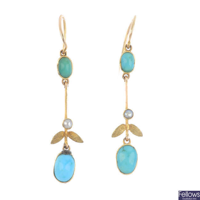 A pair of split pearl and turquoise earrings.