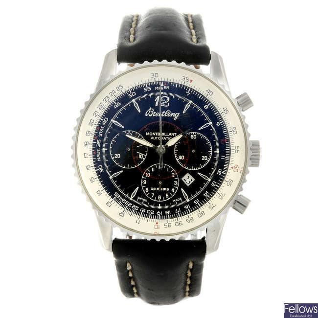BREITLING - a gentleman's stainless steel Montbrilliant wrist watch.