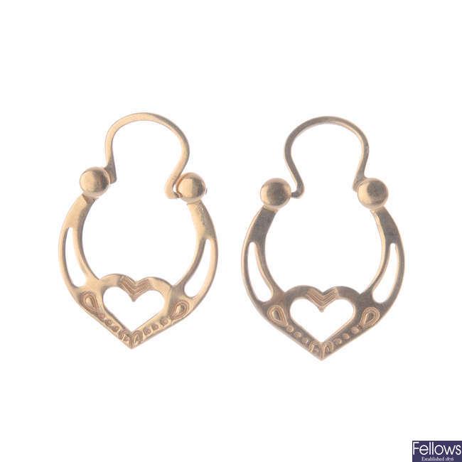 A pair of ear hoops.