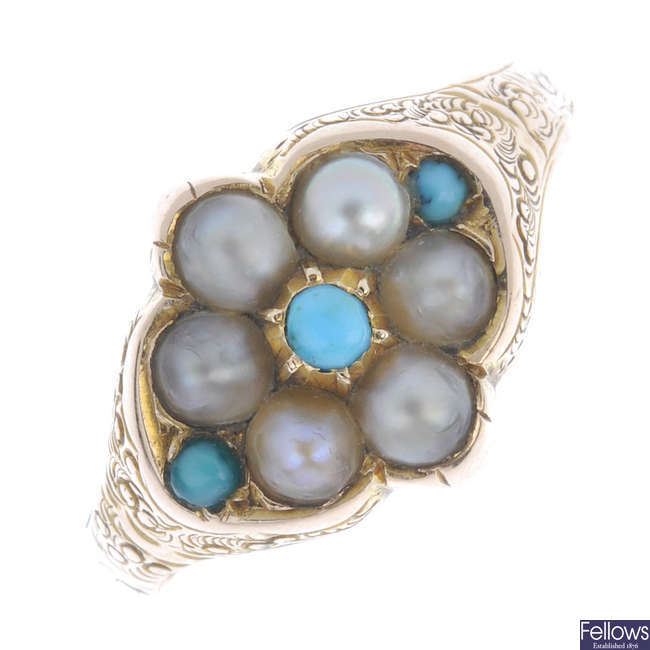 A late 19th century gold turquoise and split pearl memorial ring.