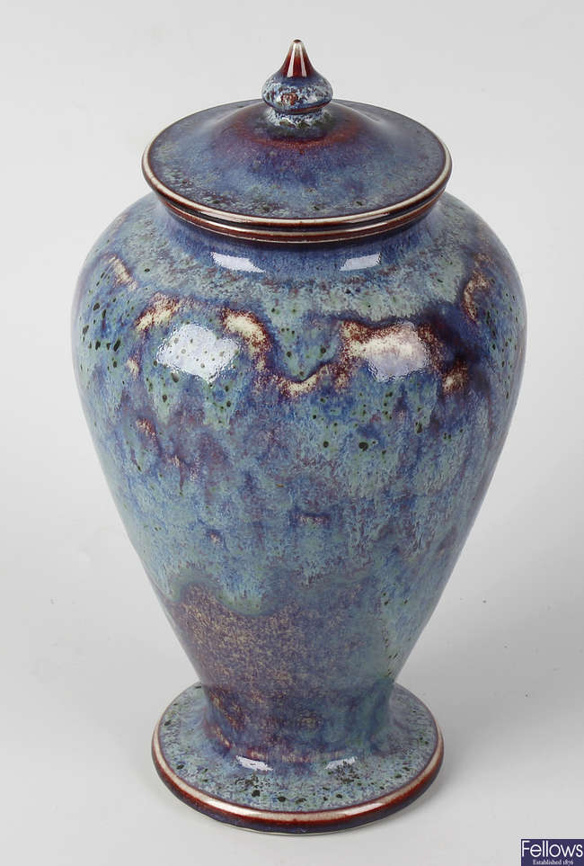 Ruskin baluster vase and cover.