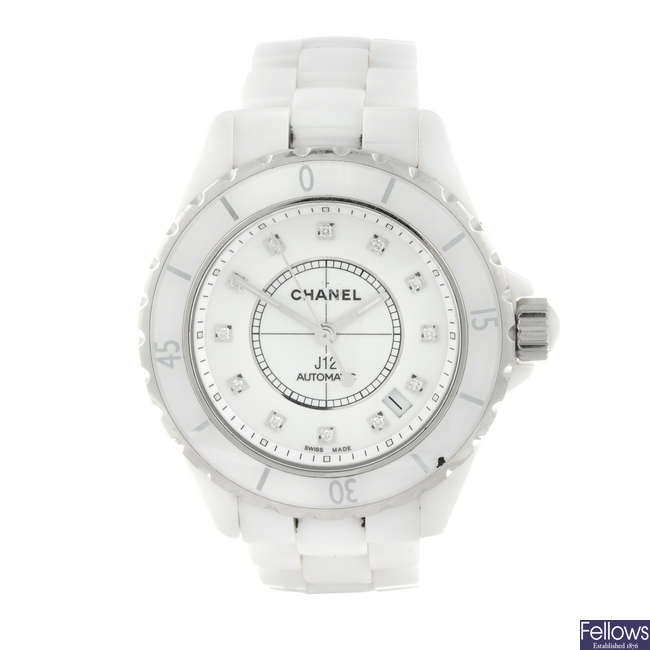 CHANEL - a ceramic J12 bracelet watch