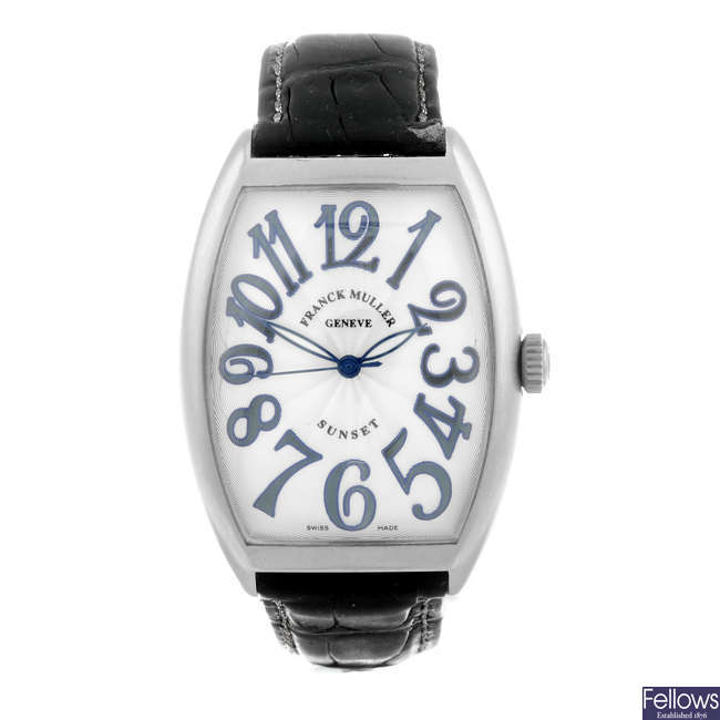 FRANCK MULLER - a gentleman's stainless steel Sunset wrist watch.
