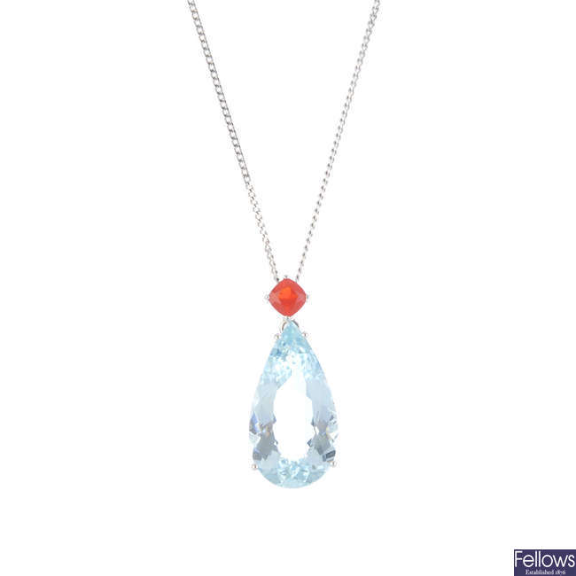 An aquamarine and fire opal pendant, with chain.