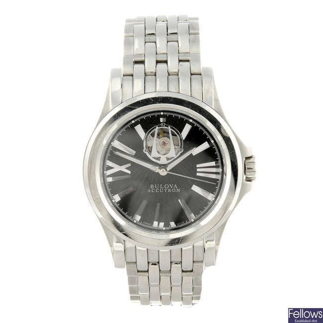 BULOVA - a gentleman's stainless steel Accutron bracelet watch.