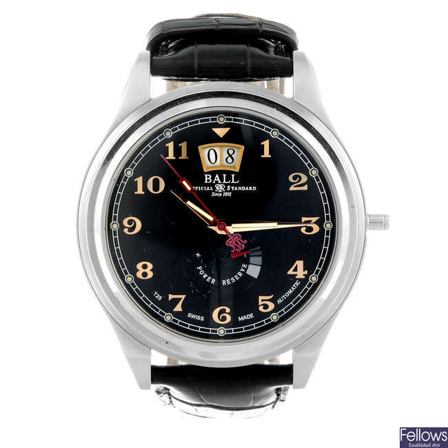BALL - a gentleman's stainless steel Trainmaster Cleveland wrist watch.