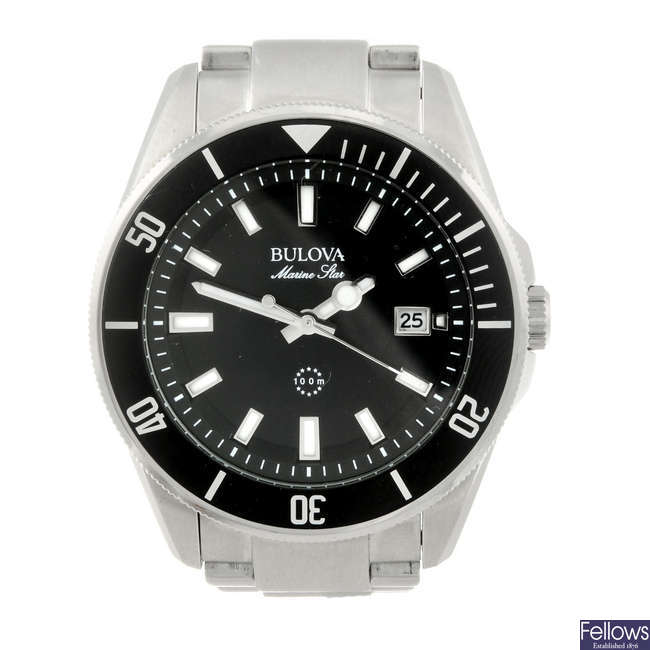 BULOVA - a gentleman's stainless steel Marine Star bracelet watch.