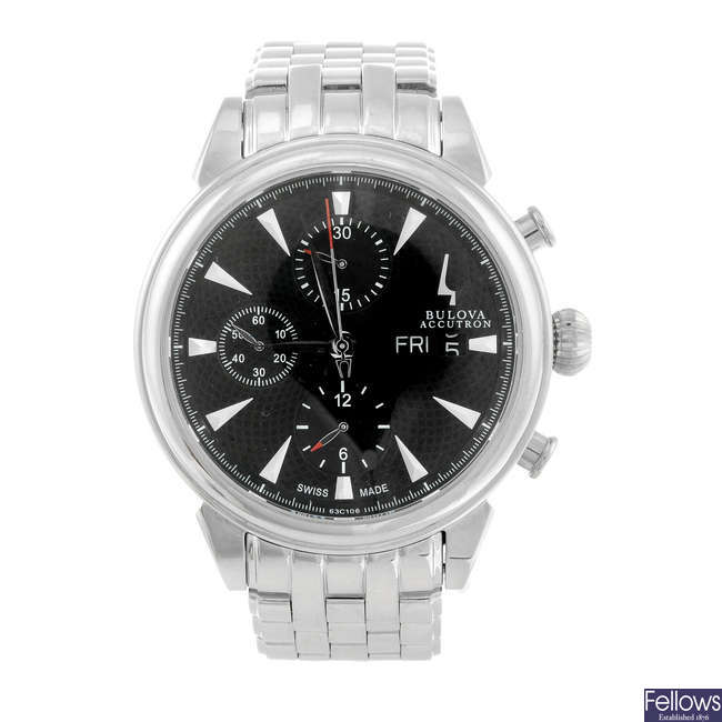 BULOVA - a gentleman's stainless steel Accutron Gemini chronograph bracelet watch.