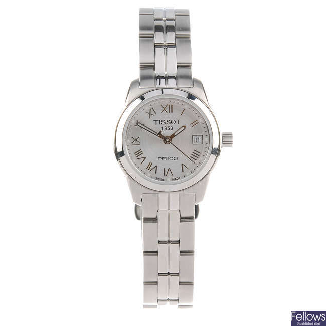 TISSOT - a lady's stainless steel PR100 bracelet watch.