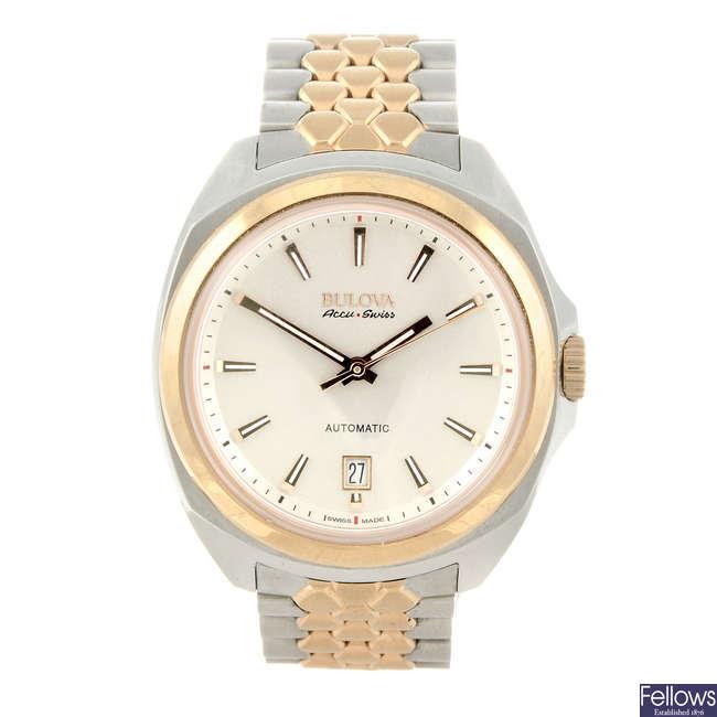 BULOVA - a gentleman's bi-colour Acc  uswiss bracelet watch.