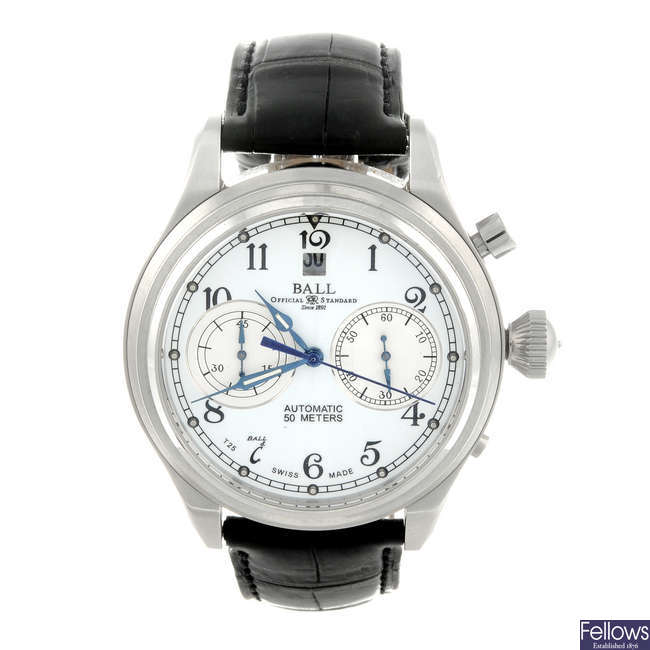 BALL - a gentleman's stainless steel Trainmaster Cannonball chronograph wrist watch.