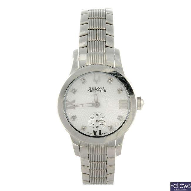 BULOVA - a lady's stainless steel Accutron bracelet watch.