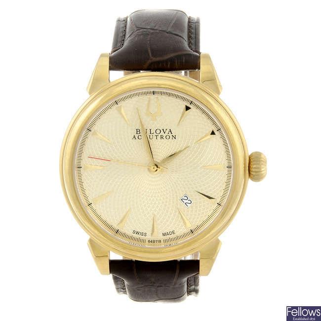 BULOVA - a gentleman's gold plated Accutron Gemini wrist watch.