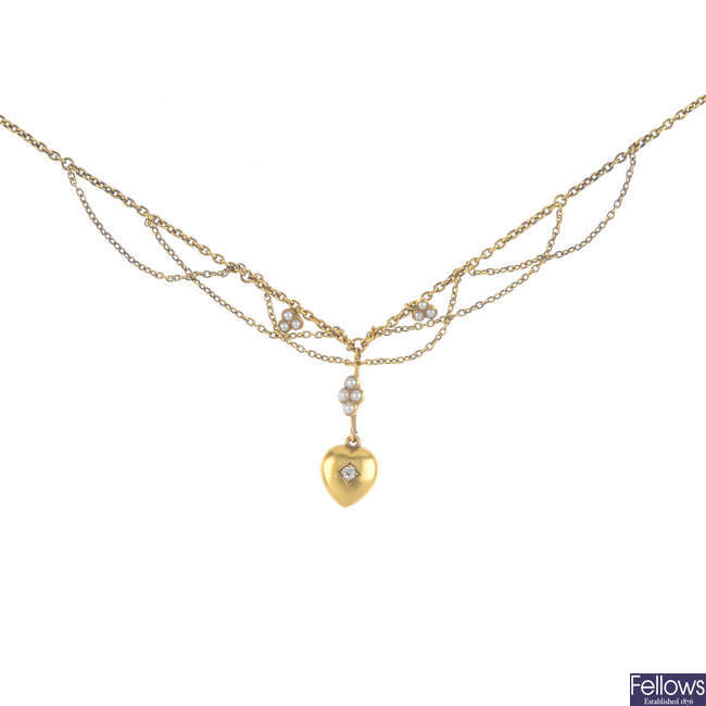 An Edwardian gold diamond and split pearl fringe necklace.