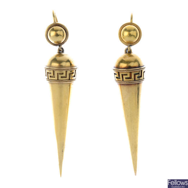 A pair of late Victorian 15ct gold Archeological Revival earrings, circa 1880.
