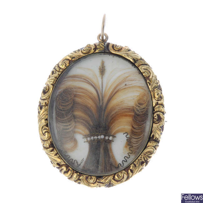 A late Victorian hair panel pendant.