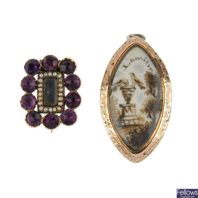 Two mid Victorian memorial brooches.