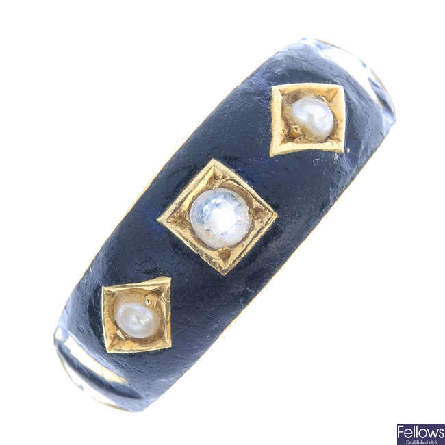 A late Victorian 15ct gold, paste, split pearl and enamel ring.