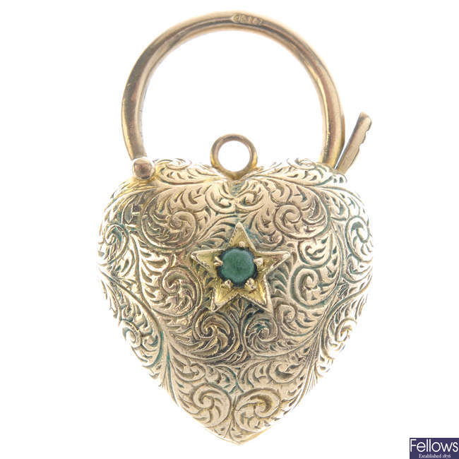A late 19th century 9ct gold heart padlock clasp.