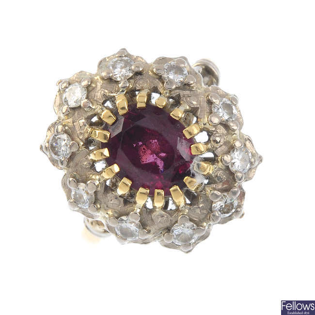 A 14ct gold diamond and garnet cluster ring.