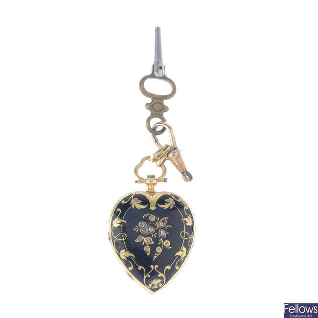 A late Victorian gold, enamel and diamond memorial fob watch.