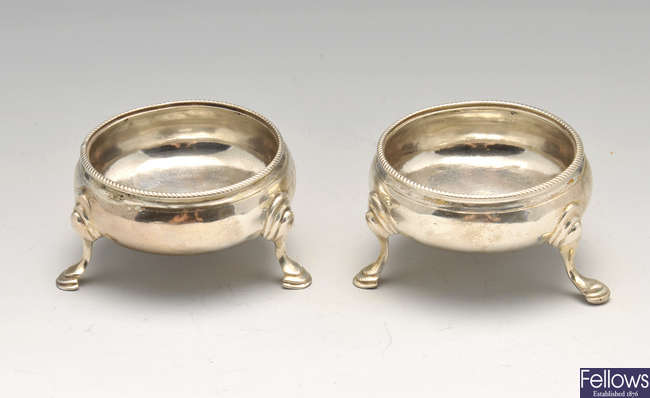 A pair of George III silver open salts by Hester Bateman.