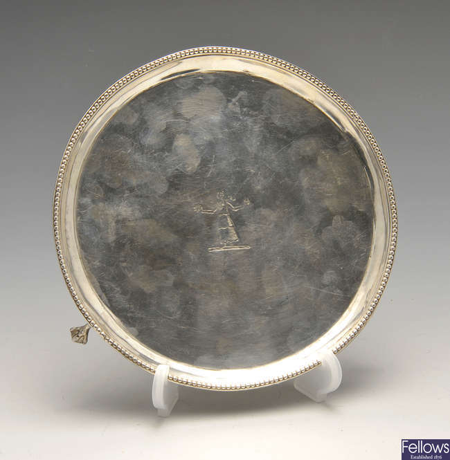 A George III small salver or waiter by Hester Bateman.