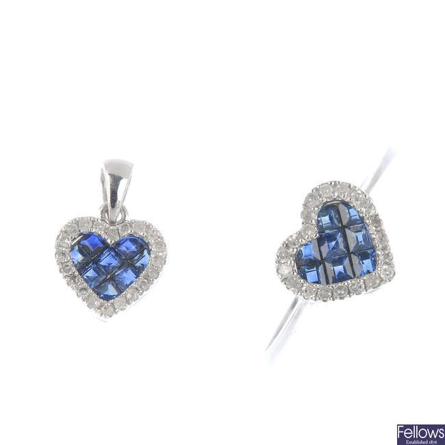 A set of sapphire and diamond jewellery.